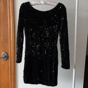 Sequin Black Long Sleeve Event Dress
